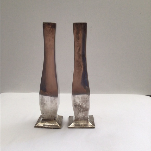 Pottery Barn silver tone candle holders